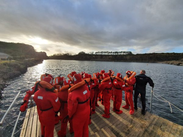 Crew on an STCW Personal Survival Techniques course